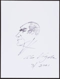 Movie/TV Memorabilia:Autographs and Signed Items, Abe Vigoda. Doodle for Hunger. Ink on Paper. 9 x 12 Inches.Estimate: $100-$300. Condition: Fine. . ...