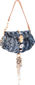 """Luxury Accessories:Bags, Louis Vuitton Limited Edition Monogram Denim Pleaty Raye Judy Blame Charms Bag. Excellent Condition. 11"""" Width x 6"""" He..."""