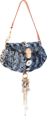 Louis Vuitton Limited Edition Monogram Denim Pleaty Raye Judy Blame Charms Bag Excellent Condition <