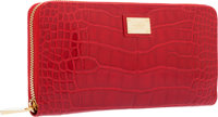 """Louis Vuitton Red Alligator Zippy Wallet with Gold Hardware Excellent to Pristine Condition 7.75"""""""