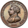 Brazil, Brazil: Pedro I bronze Imperial Brazilian Mining Association AwardMedal 1830 Extremely Fine - Holed,...