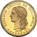 Colombia, Colombia: Republic gilt-bronze Medellin 20 Pesos Proof Obverse& Reverse Essai Trial Strikes 1873 both PR64 NGC,... (Total: 2coins)