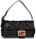 Luxury Accessories:Bags, Fendi Black Paillette Baguette Bag with Gold Hardware. ...