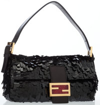 Fendi Black Paillette Baguette Bag with Gold Hardware