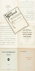 Books:Music & Sheet Music, [Sheet Music]. Seven Pieces of Sheet Music. Includes three byFerdinand Hiller, two by Paul Hindemith and one by David Hochs...(Total: 2 Items)
