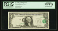 Error Notes:Shifted Third Printing, Fr. 1908-J $1 1974 Federal Reserve Note. PCGS About New 53PPQ.. ...