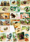 Miscellaneous:Postcards, [Postcards]. Group of Twenty Thanksgiving Related Postcards. Early1900s. Various publishers and dates. Most used. Very ...