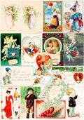 Miscellaneous:Postcards, [Postcards]. Group of Sixteen Early Twentieth Century Valentines.Various publishers and dates. Four unused. Very good....