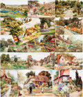 Miscellaneous:Postcards, [Postcards]. Group of Eighteen Postcards, Most Depicting EnglishGardens. Various publishers and dates, although most are pu...