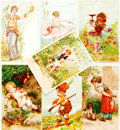 Miscellaneous:Ephemera, [Ephemera]. Group of Seven Small Cards Featuring ColorIllustrations of Children. Ca. 1900. Smallest measuresapproximately ...