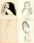 Books:Original Art, [Figure drawing]. Group of Four Original Nude Figure Sketches. [n.d., ca. 1940s]. One signed by Krug. Various sizes Smallest...