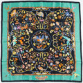 "Luxury Accessories:Accessories, Hermes Teal & Black ""Pierres d'Orient et d'Occident,"" by ZoéPauwels Silk Scarf. ..."