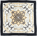 "Luxury Accessories:Accessories, Hermes Navy & White ""Eperon d'Or,"" by Henri d'Origny SilkScarf. ..."