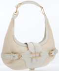 Luxury Accessories:Bags, Jimmy Choo White Leather & Straw Tulita Hobo Bag with GoldHardware. ...
