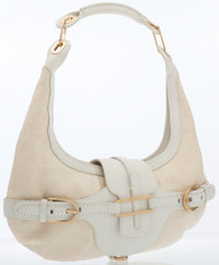 Jimmy Choo White Leather & Straw Tulita Hobo Bag with Gold Hardware