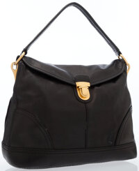 Prada Black Leather Shoulder Bag with Gold Hardware