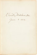 "Autographs:Others, 1912 Christy Mathewson Signed ""Pitching in a Pinch"" First EditionBook...."