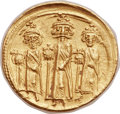 Ancients:Byzantine, Ancients: Heraclius (AD 610-641), with Heraclius Constantine (AD613-641) and Heraclonas (AD 638-641). AV solidus (22mm, 4.45 gm,6h)....