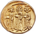 Ancients:Byzantine, Ancients: Heraclius (AD 610-641), with Heraclius Constantine (AD613-641) and Heraclonas (AD 638-641). AV solidus (21mm, 4.46 gm,6h). ...
