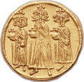 Ancients:Byzantine, Ancients: Heraclius (AD 610-641), with Heraclius Constantine (AD 613-641) and Heraclonas (AD 638-641). AV solidus (21mm, 4.46 gm, 6h). ...