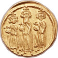 Ancients:Byzantine, Ancients: Heraclius (AD 610-641), with Heraclius Constantine (AD613-641) and Heraclonas (AD 638-641). AV solidus (21mm, 4.43 gm,6h). ...