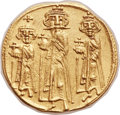 Ancients:Byzantine, Ancients: Heraclius (AD 610-641), with Heraclius Constantine (AD613-641) and Heraclonas as Caesar (AD 632-638). AV solidus (22mm,4.40 ...