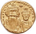 Ancients:Byzantine, Ancients: Constans II Pogonatus (AD 641-668), with Constantine IV(AD 654-685). AV solidus (20mm, 4.44 gm, 6h)....