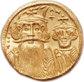 Ancients:Byzantine, Ancients: Constans II Pogonatus (AD 641-668), with Constantine IV,Heraclius and Tiberius (AD 659-668). AV solidus (20mm, 4.43 gm,6h)....