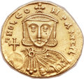 Ancients:Byzantine, Ancients: Leo III the Isaurian (AD 717-741), with Constantine V (AD720-775). AV solidus (21mm, 4.45 gm, 6h)....