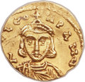 Ancients:Byzantine, Ancients: Leo III the Isaurian (AD 717-741), with Constantine V (AD720-775). AV tremissis (16mm, 1.36 gm, 6h)....