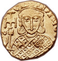 Ancients:Byzantine, Ancients: Constantine V Copronymus (AD 741-775), with Leo IV (AD751-775). AV solidus (19mm, 3.80 gm, 6h)....