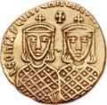 Ancients:Byzantine, Ancients: Leo IV the Khazar (AD 775-780), with Constantine VI, LeoIII, and Constantine V. AV solidus (19mm, 4.43 gm, 6h).  ...