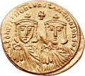 Ancients:Byzantine, Ancients: Leo IV the Khazar (AD 775-780), with Constantine VI, LeoIII, and Constantine V. AV solidus (23mm, 4.42 gm, 6h)....