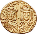 Ancients:Byzantine, Ancients: Constantine VI and Irene (AD 780-797), with Leo III,Constantine V, and Leo IV. AV solidus (20mm, 4.35 gm, 6h)....