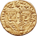 Ancients:Byzantine, Ancients: Constantine VI and Irene (AD 780-797), with Leo III,Constantine V, and Leo IV. AV solidus (20mm, 4.38 gm, 6h)....