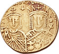 Ancients: Constantine VI and Irene (AD 780-797), with Leo III, Constantine V, and Leo IV. AV solidus (19mm, 4.36 gm, 6h)...