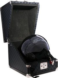 Louis Vuitton Limited Edition Damier Graphite Motorcycle Helmet & Hardsided Case Very Good Condition