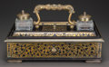 Decorative Arts, British:Other , AN ENGLISH LACQUERED WOOD, GILT BRONZE AND CUT-GLASS INK STAND,Thomas Parker, London, England, early 19th century. Retainin...