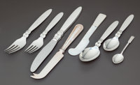 A THIRTY-FOUR PIECE DANISH SILVER FLATWARE SERVICE IN THE CACTUS PATTERN AND THREE UNASSOCIA