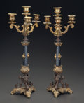 Decorative Arts, French:Other , A PAIR OF LOUIS XVI-STYLE ONYX, GILT AND PATINATED METAL FOUR-LIGHTCANDELABRUM, 19th century. 19-1/4 inches high (48.9 cm) ... (Total:2 Items)