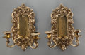 Lighting:Sconces, A PAIR OF GILT BRONZE TWO-LIGHT WALL SCONCES, 20th century. 16-1/2 inches high (41.9 cm). ... (Total: 2 Items)