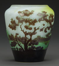 GALLÉ OVERLAY GLASS LANDSCAPE VASE, circa 1900 Cameo: Gallé 4-3/8 inches high (11.1 cm)