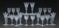 Art Glass:Other , THREE SETS OF SIX SMALL CUT-GLASS BEVERAGE STEMS, 20th century.4-1/4 inches high (10.8 cm) (tallest). ... (Total: 18 Items)