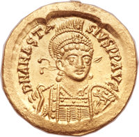 Ancients: Anastasius I (AD 491-518). AV solidus (20mm, 4.48 gm, 7h).