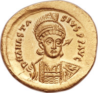Ancients: Anastasius I (AD 491-518). AV solidus (20mm, 4.48 gm, 6h).