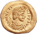 Ancients:Byzantine, Ancients: Justin I (AD 518-527). AV semissis (18mm...