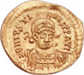 Ancients:Byzantine, Ancients: Justin I (AD 518-527). AV solidus (21mm, 4.26 gm, 6h). ...