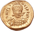 Ancients:Byzantine, Ancients: Justin I (AD 518-527). AV solidus (21mm, 4.39 gm,7h). ...