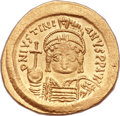 Ancients:Byzantine, Ancients: Justinian I the Great (AD 527-565). AV solidus (21mm, 4.51 gm, 6h). ...