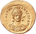 Ancients:Byzantine, Ancients: Justinian I the Great (AD 527-565). AV solidus (21mm,4.48 gm, 6h). ...